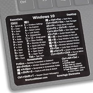 SYNERLOGIC Windows 10 Reference Keyboard Shortcut Sticker - Black VINYL 3