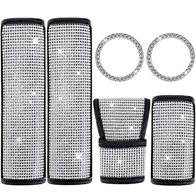 6 Pieces Crystal Rhinestone Car Accessories, Include Shift Gear Cover, Auto Handbrake Cover, 2 Pieces Seat Strap Belt Shoulder Pads and 2 Pieces Ring Emblem Stickers for Women Girls Car Decoration: Automotive [5Bkhe2010672]
