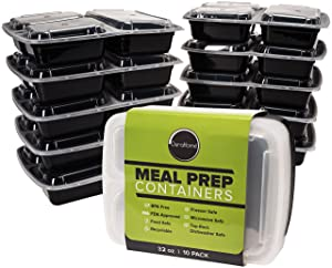 Durahome - Meal Prep Containers with Lids, 10-Pack, 3 Compartment BPA Free Food Storage Container 32oz. Microwave, Dishwasher & Freezer Safe Bento Lunch Boxes, Stackable, Reusable Portion Control