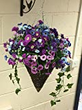 Large Cone Hanging basket Artificial Hanging basket Coloured Basket Out Door, Mixed wild Flowers, Trailing Flowers , Basket and Bark