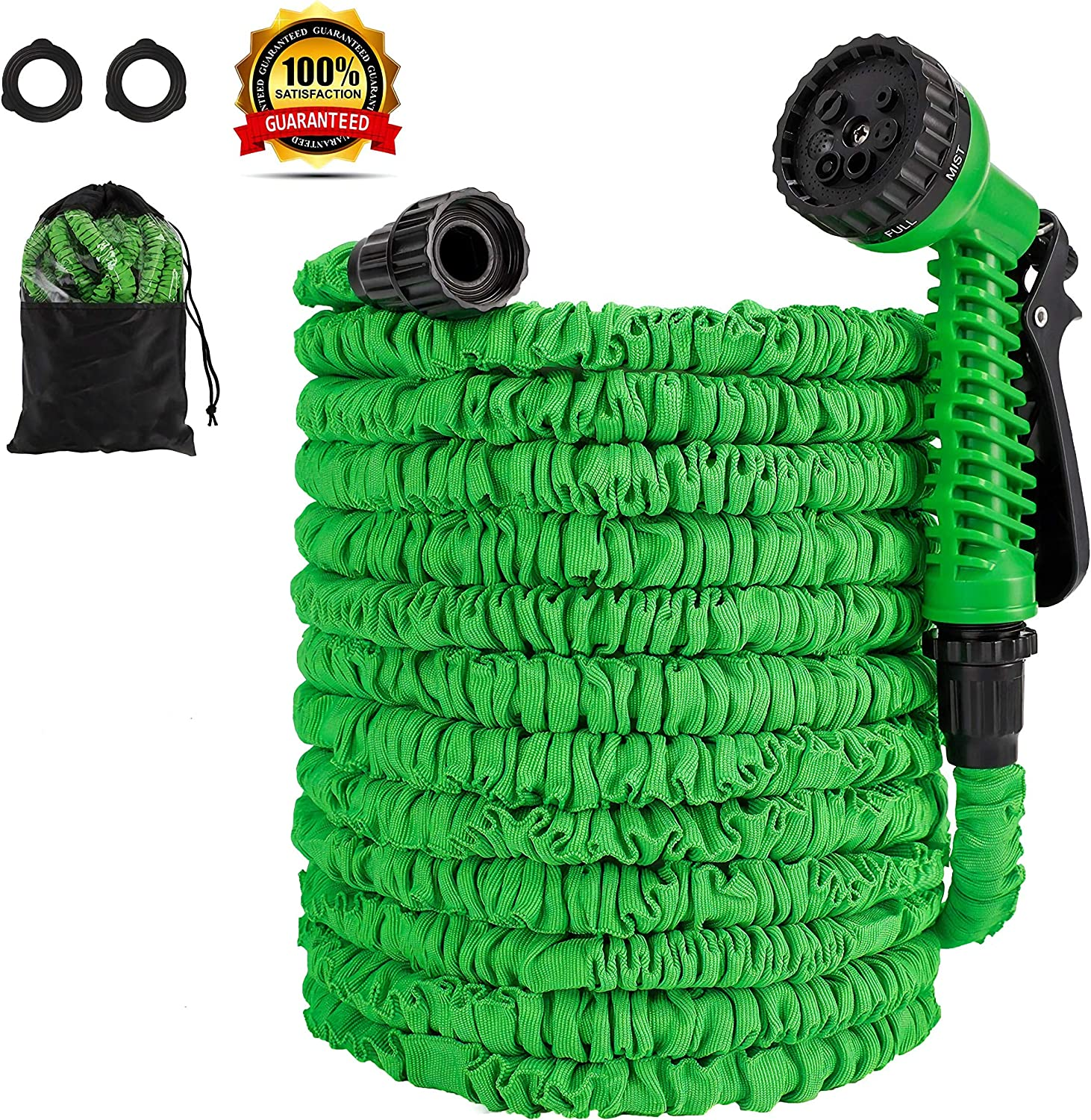 """ECONOM Expandable 50 ft Garden Water Hose - Hose Pipe with Premium Quality Double Latex & Lightweight 3/4"""" Solid Fittings with 7 Function High Pressure Spray Nozzle.Maneuverable Hose."""
