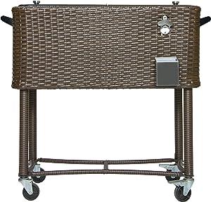 Permasteel PS-208-BB-AM 80 Quart Portable Rolling Patio Cooler, Dark Wicker