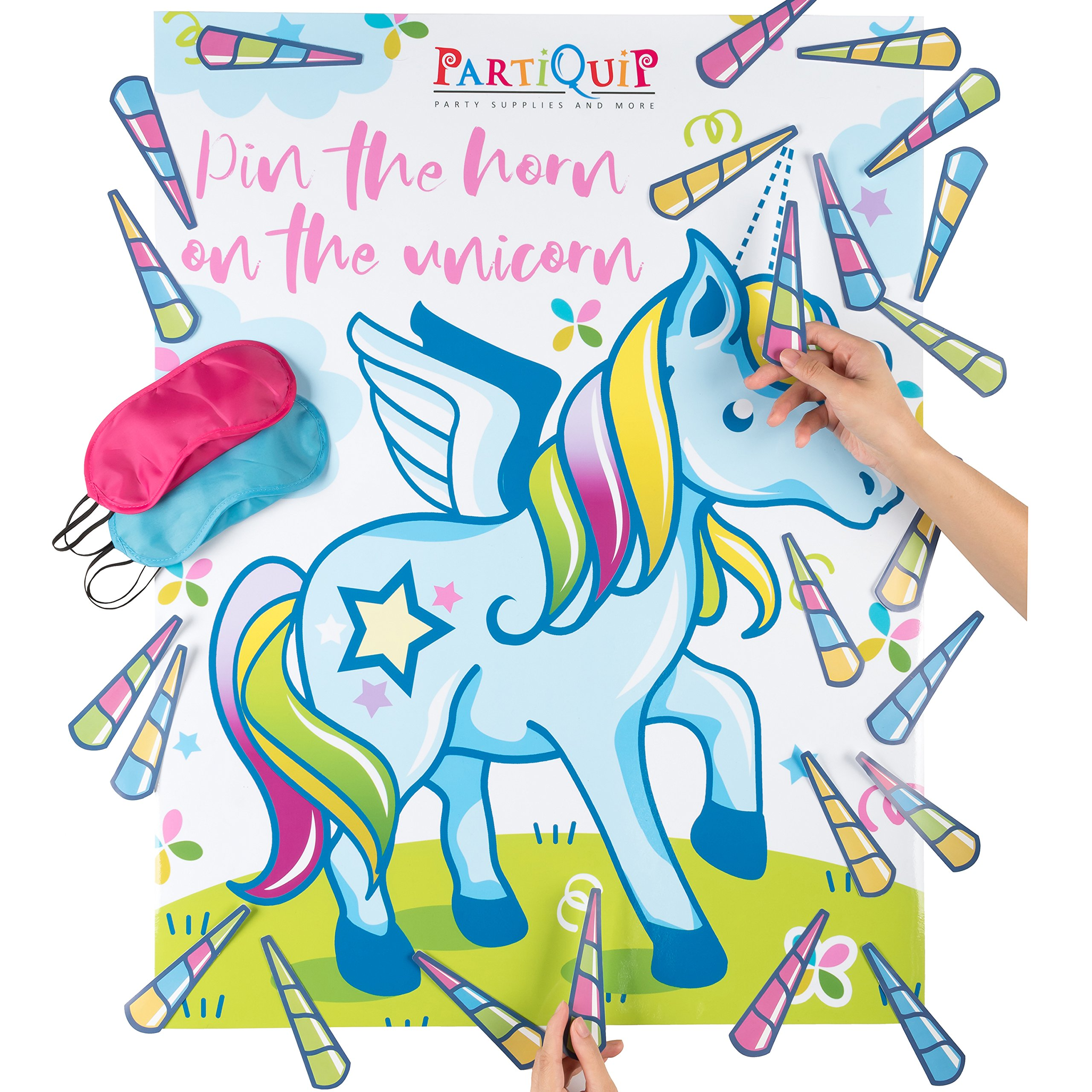 Partiquip Pin The Horn On The Unicorn Birthday Party Supplies - Unicorn Party Supplies for Girls Unicorn Decorations, Unicorn Games, Unicorn Gifts – Unicorns Poster For Kids Room Décor