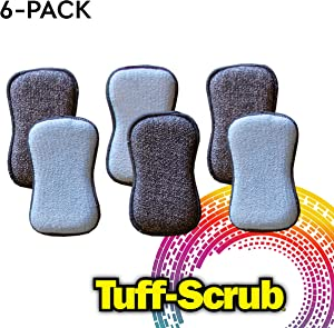 Tuff-Scrub Microfiber Cleaning Scrub Sponges, Dual-Sided Scouring for Easy Household Cleaning of Your Kitchen Dishes, Pots, and Pans (Pack - 6)