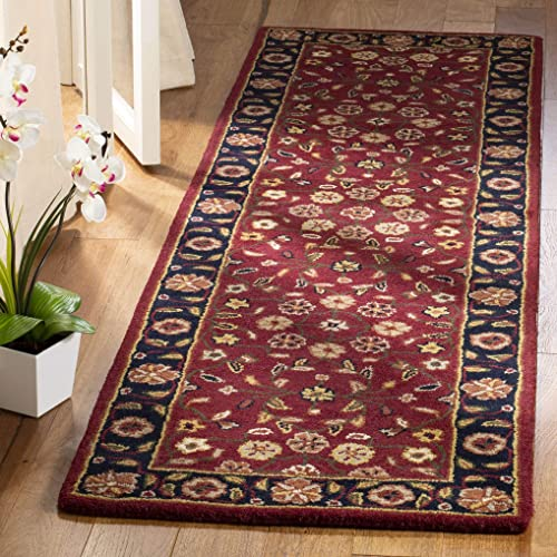 Safavieh Heritage Collection HG966A Handcrafted Traditional Oriental Red and Navy Wool Runner 2 3 x 22