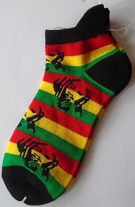1 par de color rojo, verde y amarillo Rasta hombre Bob Marley calcetines adultos
