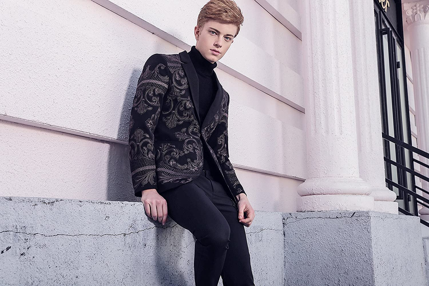 FANZHUAN Mens Black Fashion Embroidery Blazer Slim Fit