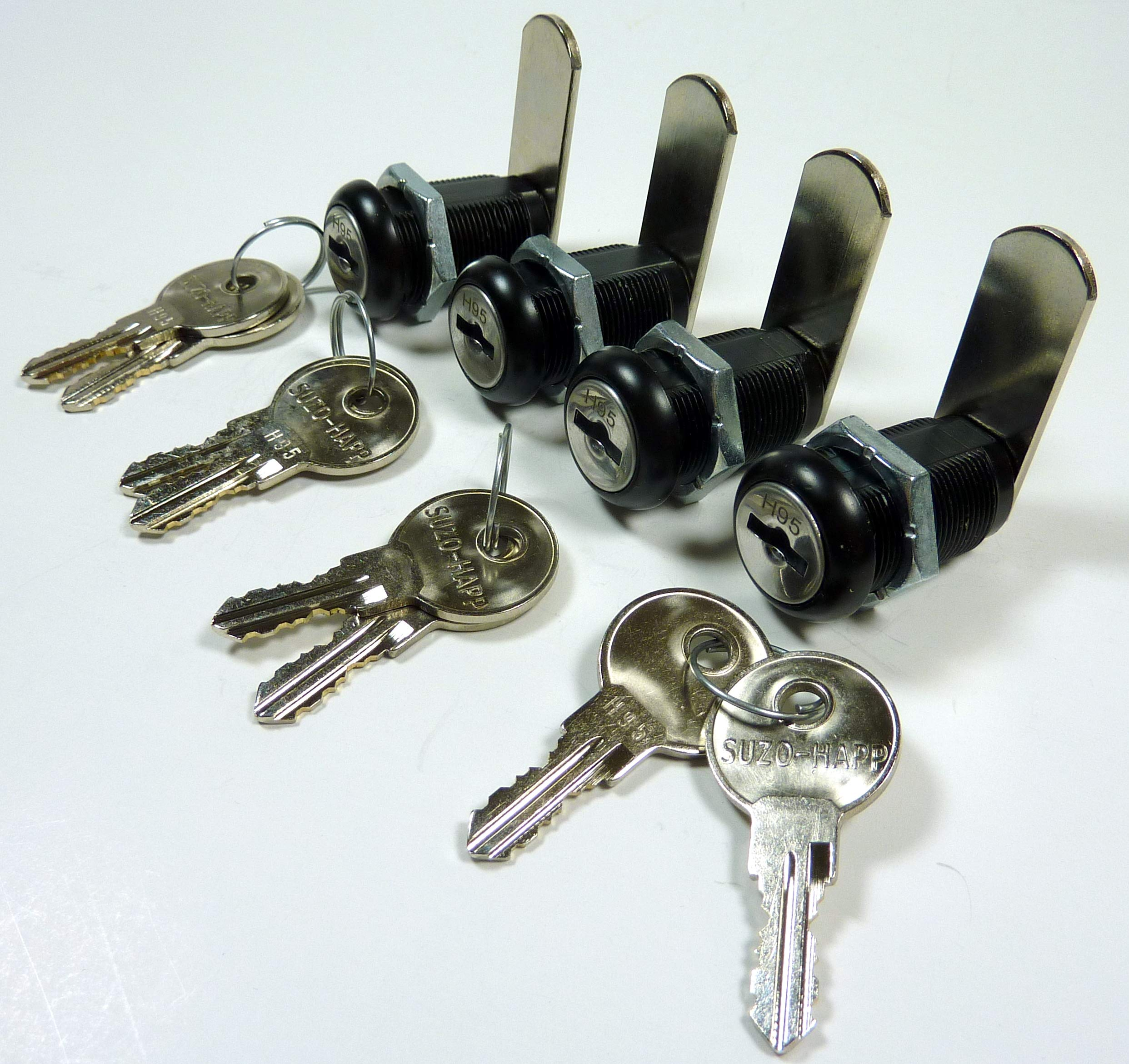4-Pk 1-1/8'' Black Cam Lock Double Bitted Tumbler Keyed Alike 2 Keys Cabinets, Drawers, Lockers
