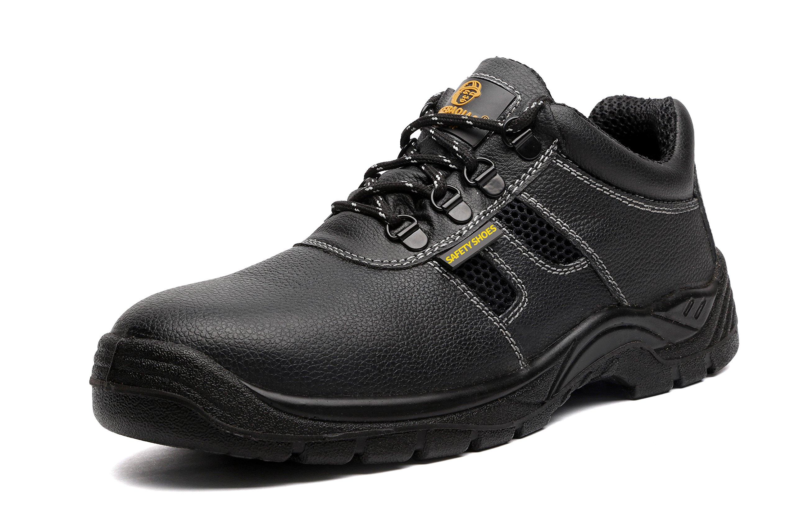 JACKBAGGIO Men's Steel Toe Steel Plate Leather Industrial Work Boot 8805 (9.5) by JACKBAGGIO
