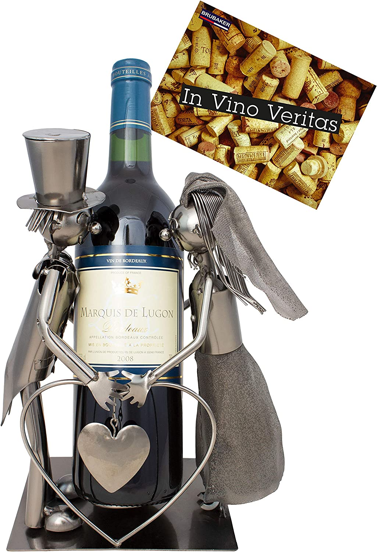 BRUBAKER Porta botella de vino pareja de novias - Decoraciónn soporte de botella de metal - con tarjeta de felicitación para regalo de boda: Amazon.es: Hogar