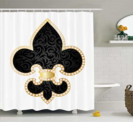 Ambesonne Fleur De Lis Shower Curtain, Royal Legend Lily Throne France  Empire Family Insignia Design