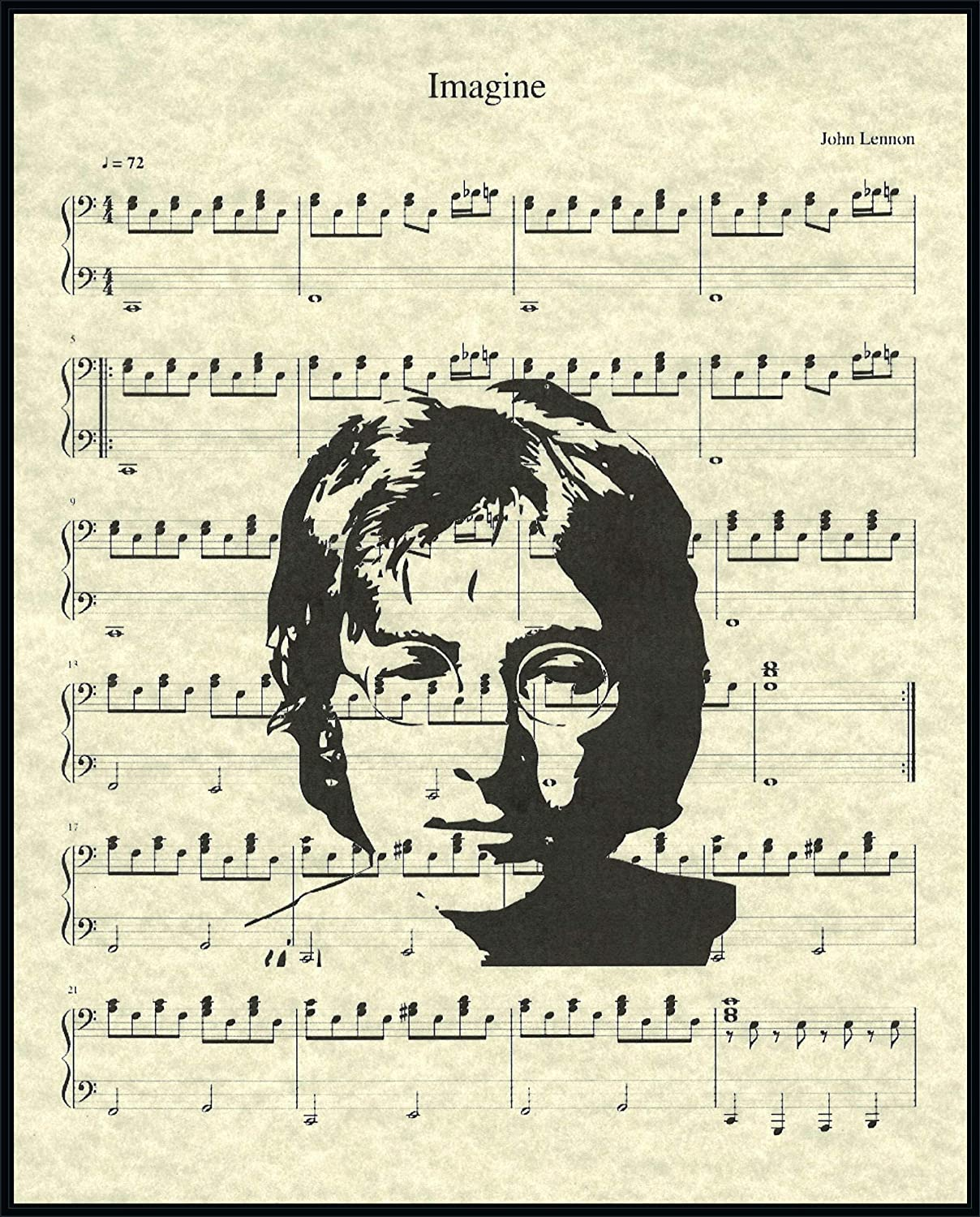 Amazon Com Imagine By John Lennon Music Sheet Artwork Print Picture Poster Home Office Bedroom Nursery Kitchen Wall Decor Unframed Posters Prints