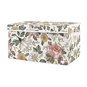 Sweet Jojo Designs Vintage Floral Boho Girl Small Fabric Toy Bin Storage Box Chest for Baby Nursery or Kids Room - Blush Pink, Yellow and Green Shabby Chic Rose Flower Farmhouse