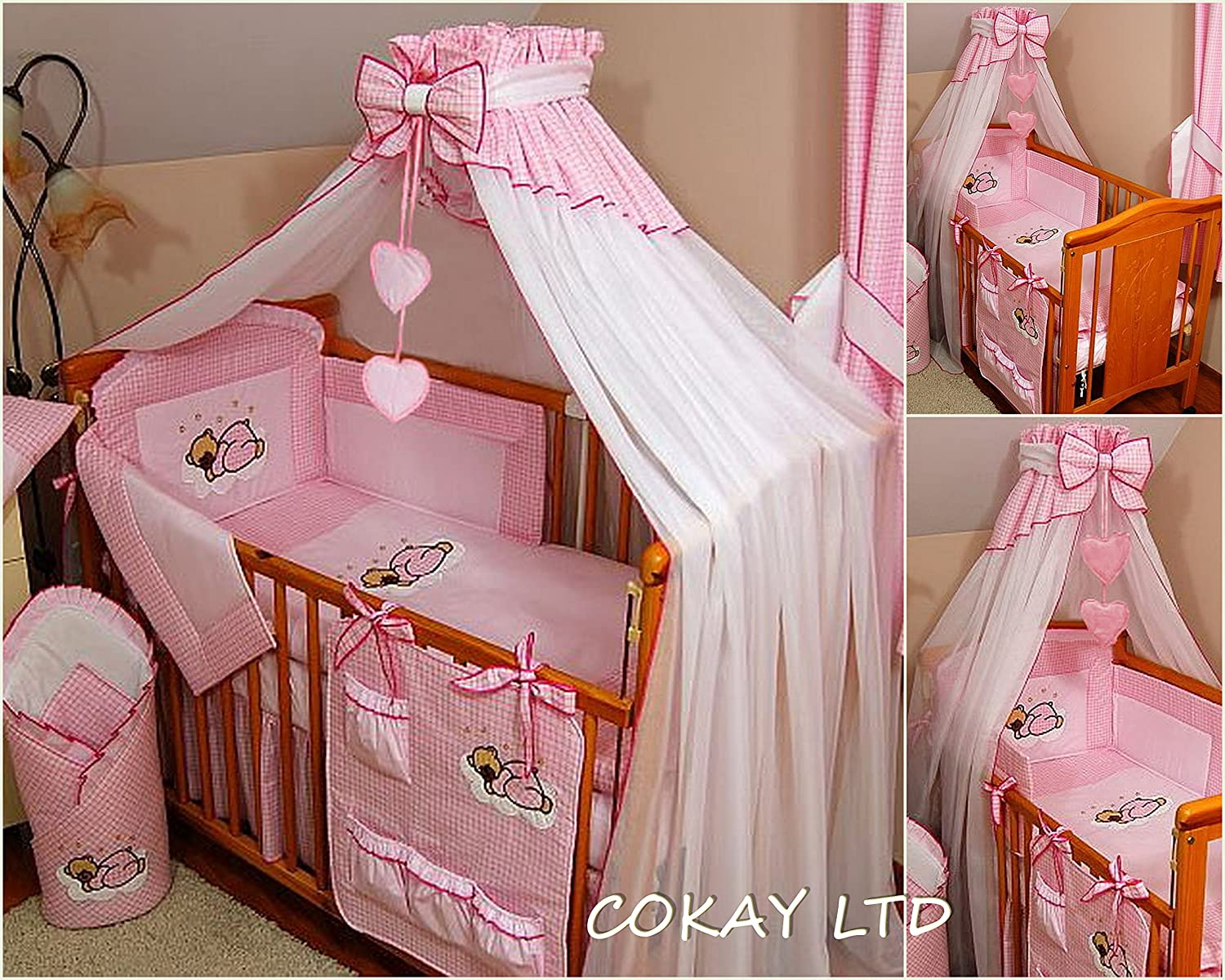 8 pcs BABY BEDDING SET /BUMPER/CANOPY /HOLDER to fit COT BED 140 x 70cm (PINK) HEARTS COKAY LTD