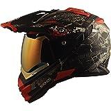 Broken Head Road Pirate Cross-Helm Special Edition mit rot verspiegeltem Visier | Endurohelm - MX Motocross Helm mit Sonnenblende - Quad-Helm (L 59-60 cm)
