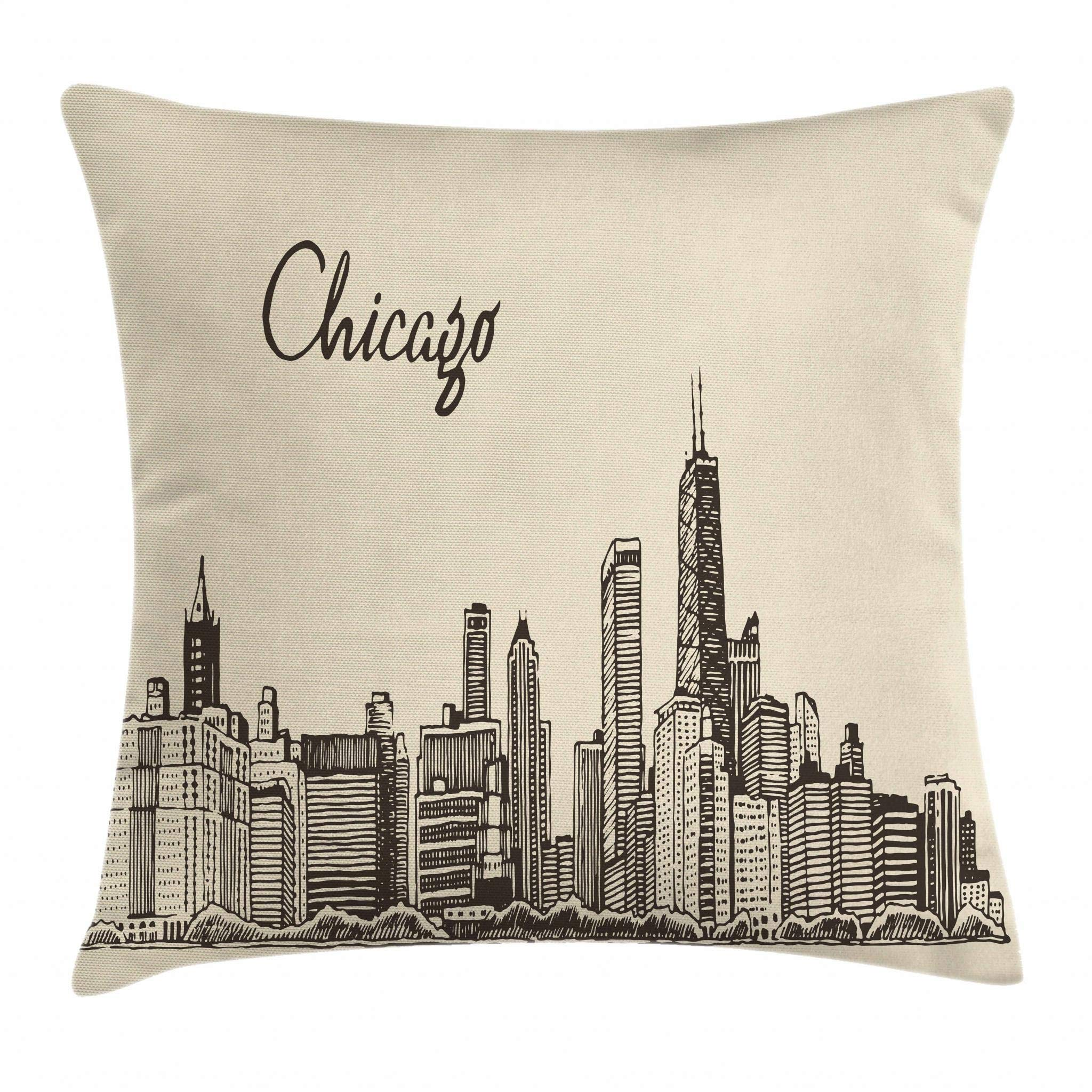 Ambesonne Chicago Skyline Throw Pillow Cushion Cover, Vintage Style Urban Silhouette Country Culture Architecture Capital, Decorative Square Accent Pillow Case, 20 X 20 Inches, Beige Dark Brown
