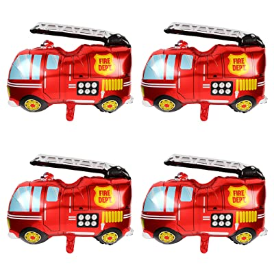 Big Red Fire Truck Foil Mylar Balloon Helium Birthday Party Decorations Supplies 4 Pcs Jumbo Fire Engine: Health & Personal Care
