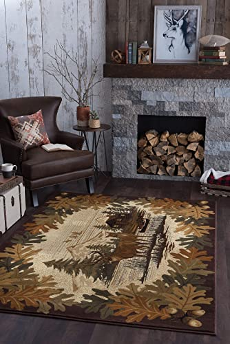 Tayse Oak Deer Brown 8×11 Rectangle Area Rug Cabin for Living, Bedroom, or Dining Room – Lodge, Novelty