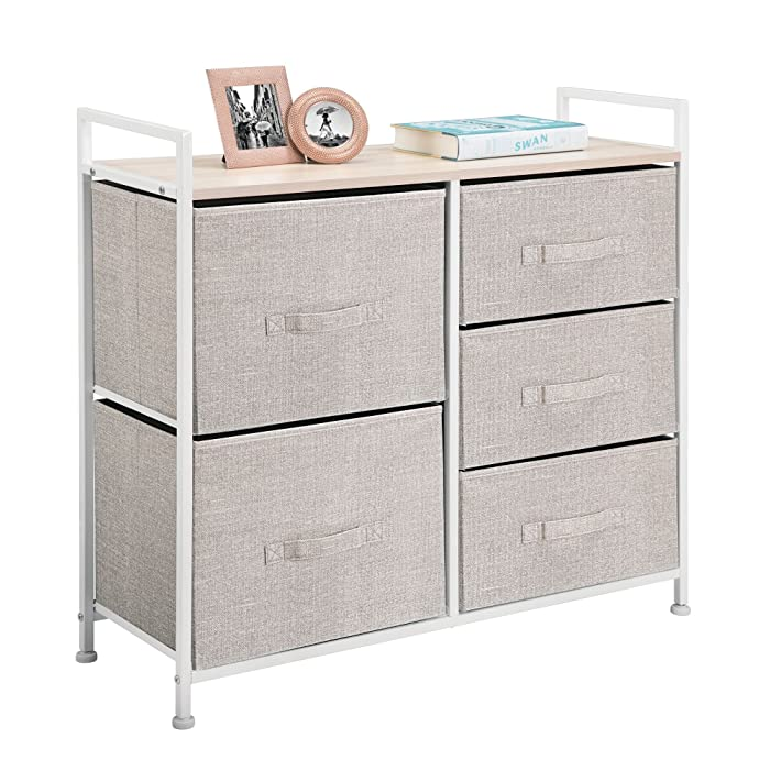mDesign Wide Dresser Storage Tower - Sturdy Steel Frame, Wood Top, Easy Pull Fabric Bins - Organizer Unit for Bedroom, Hallway, Entryway, Closets - Textured Print, 5 Drawers - Linen/Tan