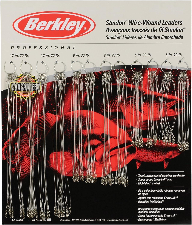 """BERKLEY WOUND STEELON LEADERS BLACK 12/"""" 20# WIRE--5 PACKS--3 PER PACK"""