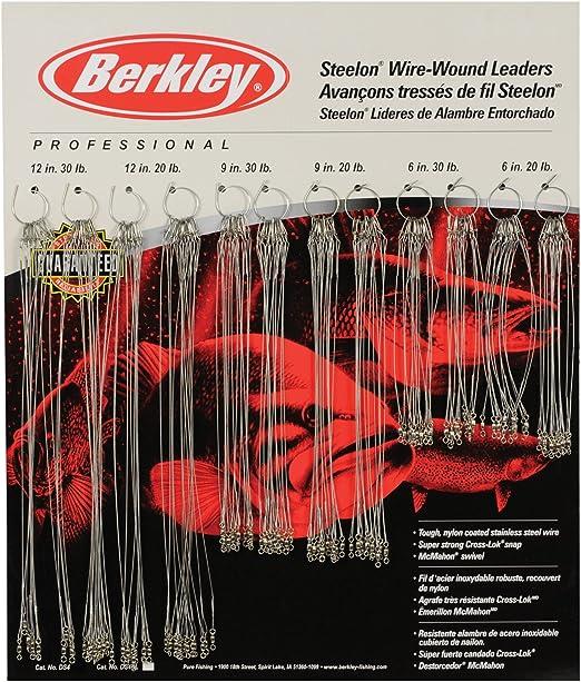 """3 Berkley Steelon Fishing Leader 20# or 30# Black 6/"""" Nylon Coated Stainless"""