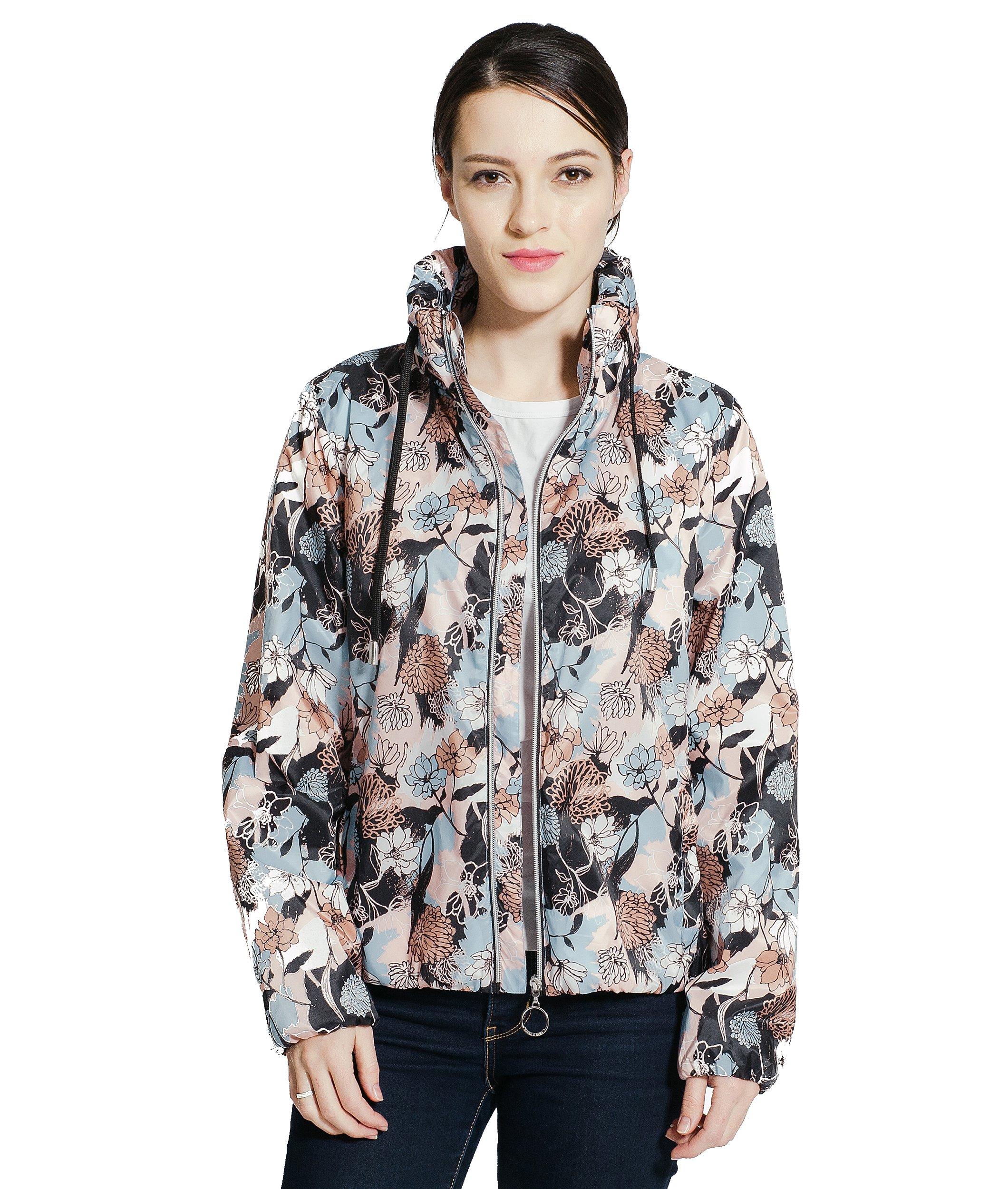 Rokka&Rolla Women's Lightweight Water Resistant Casual Active Sports Hooded Windbreaker Rain Jacket by Rokka&Rolla