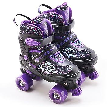 The Magic Toy Shop Niños Ajustable 4 Rueda Morado Quad Patines Botas - Rodillos UK Zapatos de Gran tamaño 5 - 7: Amazon.es: Deportes y aire libre