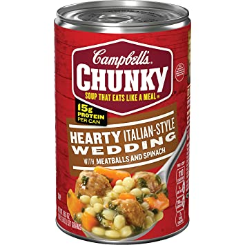 Italian Wedding Soup Can.Campbell S Chunky Hearty Italian Style Wedding With Meatballs And Spinach Soup 18 6 Oz Can
