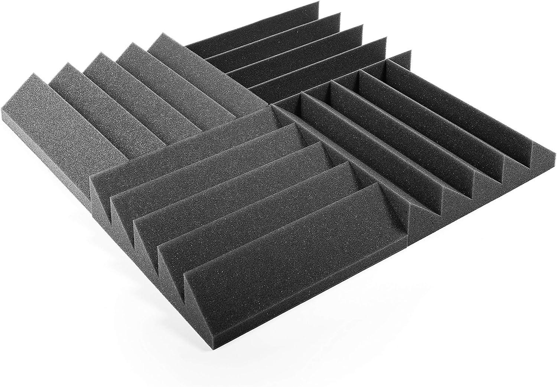 AcousPanel Espuma acústica. Pack de 12 planchas de alta calidad. Dimensiones 30x30 cm. Color gris antracita, auto extinguible. Paneles Absorbentes Acústicos con diseño clásico.