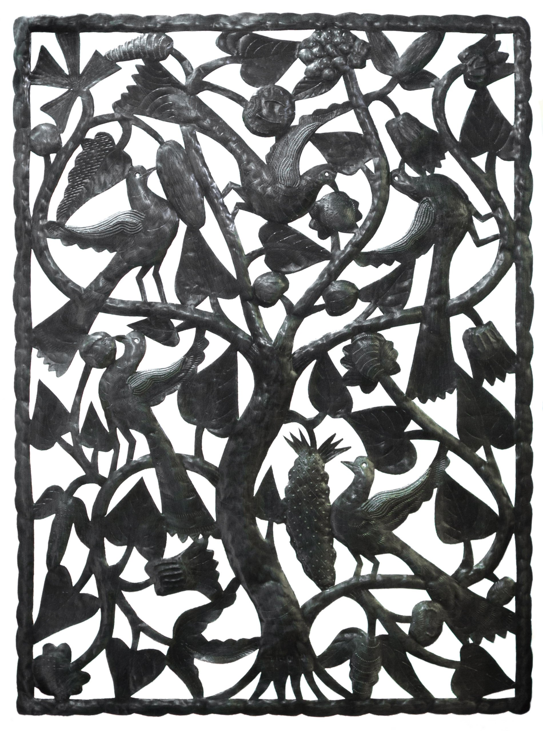 Le Primitif Galleries Haitian Recycled Steel Oil Drum Outdoor Decor, 47.5 by 35-Inch, Panel