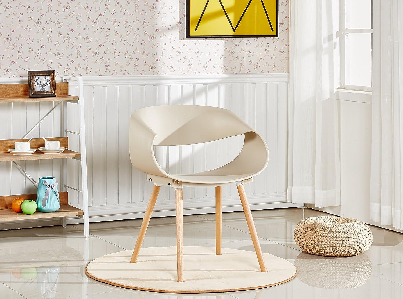P&N Homewares Nest Stuhl Kunststoff Retro Modernen Esszimmerstühlen, weiß Schwarz Grau Gelb Braun, Plastik, Cappuccino, Two Chairs