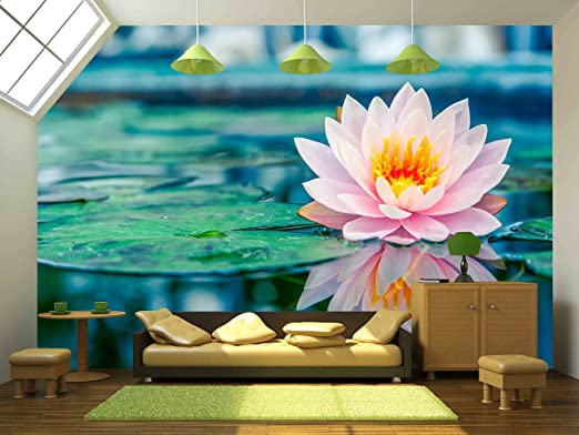 wall26 - Beautiful Pink Lotus, Water Plant with Reflection in a Pond - Removable Wall Mural |
