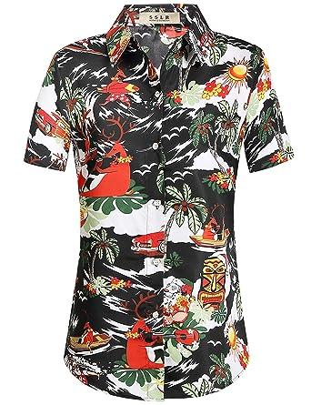 9507e25d SSLR Women's Santa Claus Party Tropical Ugly Hawaiian Christmas Shirts  (X-Small, Black