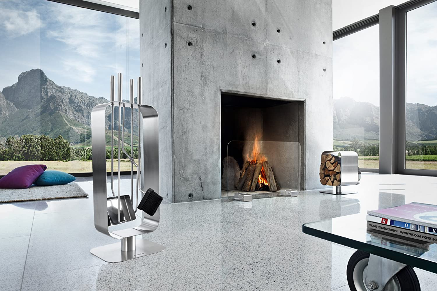 amazoncom blomus glass fireplace screen home  kitchen -