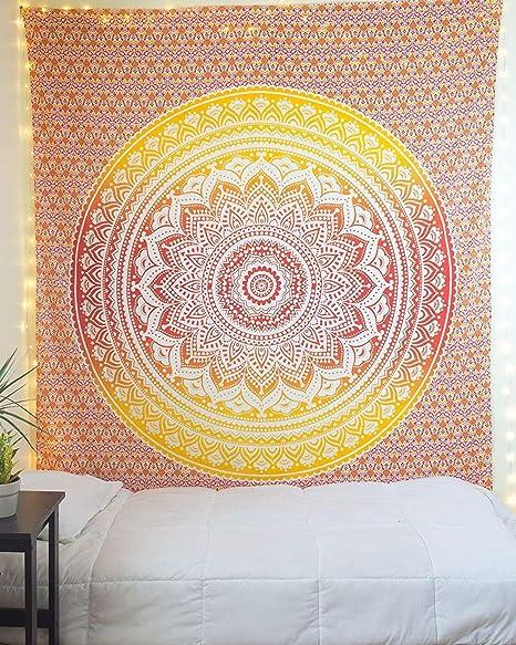ORANGE Wall Hanging Tapestry Mandala Boho Hippie Wall Art Poster
