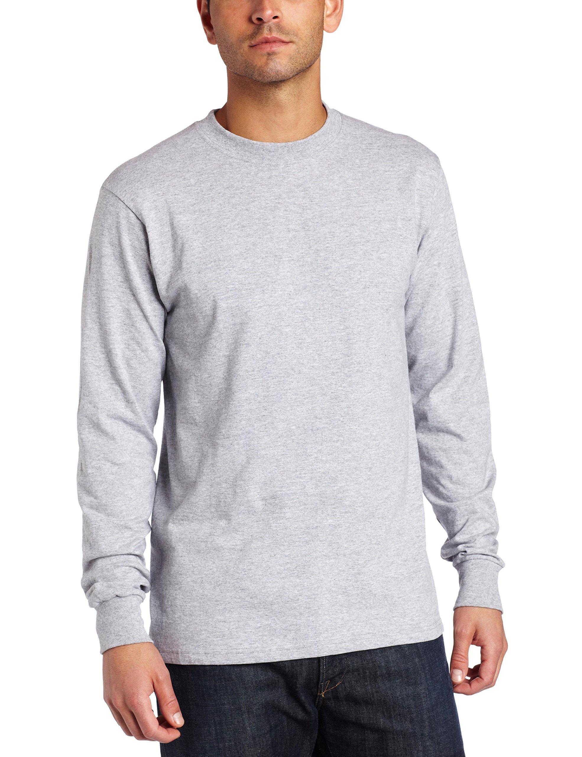 MJ Soffe Men's Long-Sleeve Cotton T-Shirt, Oxford, Large