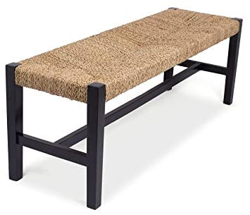 Outstanding Birdrock Home Rush Weave Bench 18 Inch Seat Height Traditionally Woven Dining Room Entryway Bench Wooden Furniture Fully Assembled Black Inzonedesignstudio Interior Chair Design Inzonedesignstudiocom