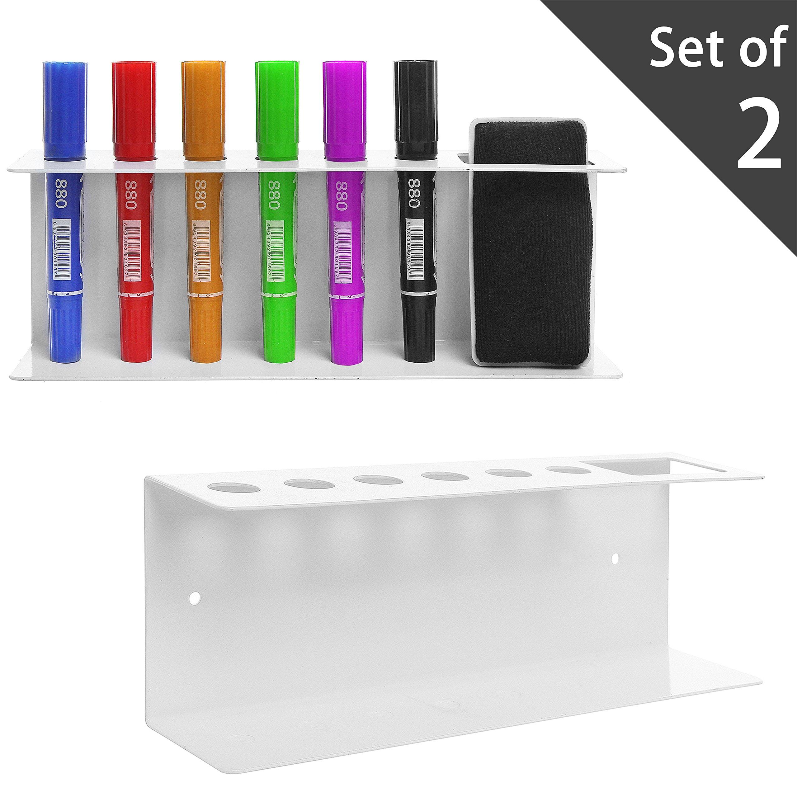 Set of 2 Wall Mountable Metal Dry Erase Whiteboard Marker & Eraser Holder Tray, White