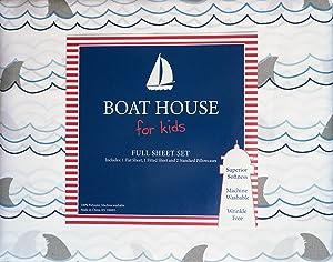 Boat House Kids Bedding 4 Piece Full Sheet Set Shark Fins Waves Ocean Blue Gray on White