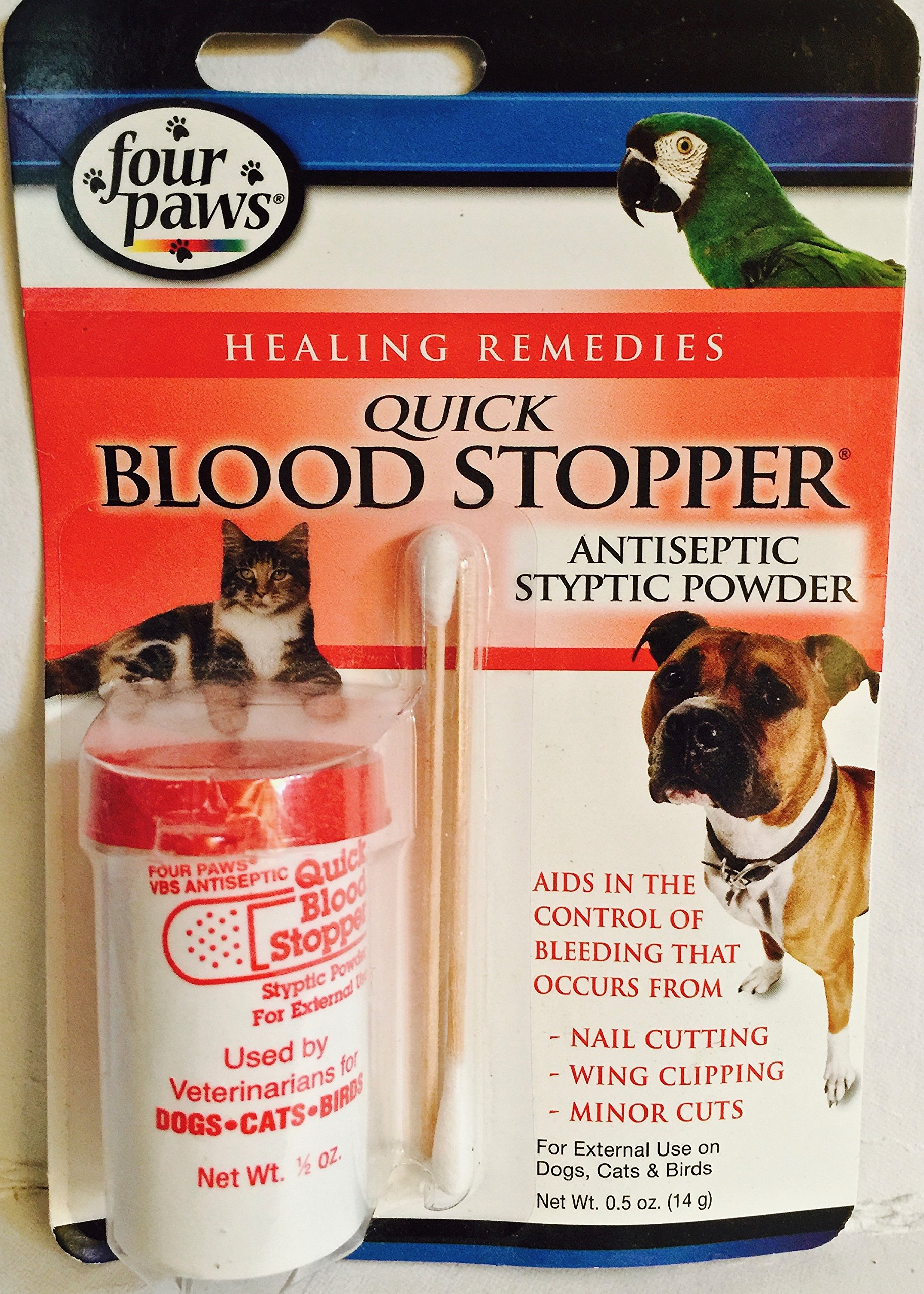 FOUR PAWS QUICK STOP BLOOD STOPPER ANTISEPTIC STYPTIC POWDER FOR DOGS, CATS, BIRDS, SMALL MAMMALS