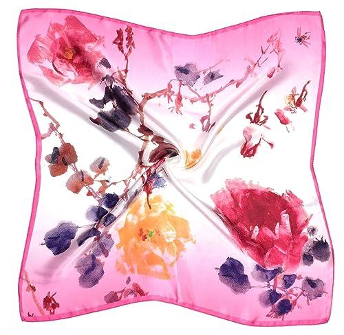 Bees Knees Fashion - Sciarpa - Fiore Arancione Rosa Stampato Piccola Sciarpa Quadrata Di Seta Spessa