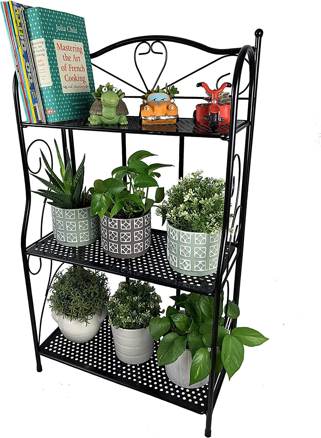 Cocoyard Tiered Folding Metal Plant Stand 3 Tier Heavy Duty Indoor and Outdoor Flower Display Rack, Home Storage Organizer Shelf. No Assembly Required