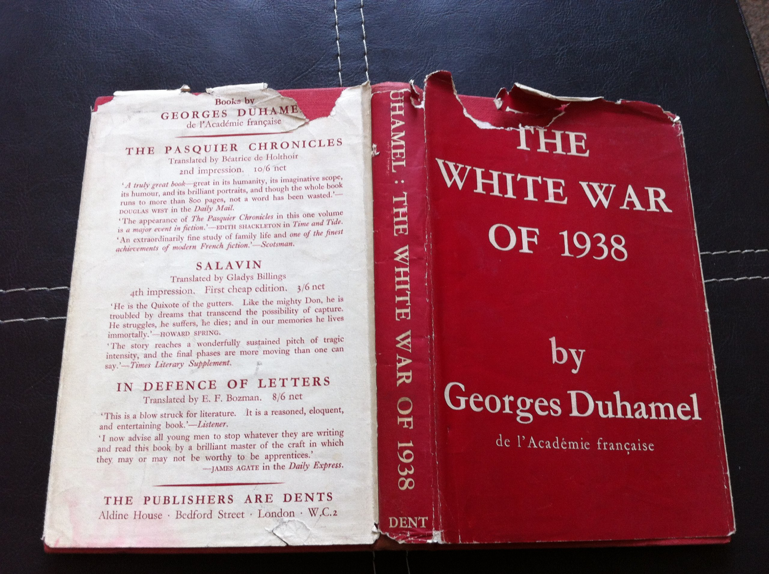 The White War of 1938 - Translated from the French By N. Hoppe: Georges Duhamel: Amazon.com: Books