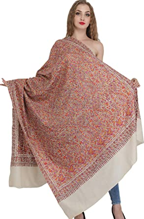 Ivory Kashmir Wool Hand Embroidered 100/% Pashmina Shawl Wrap Scarf Stole Scarves