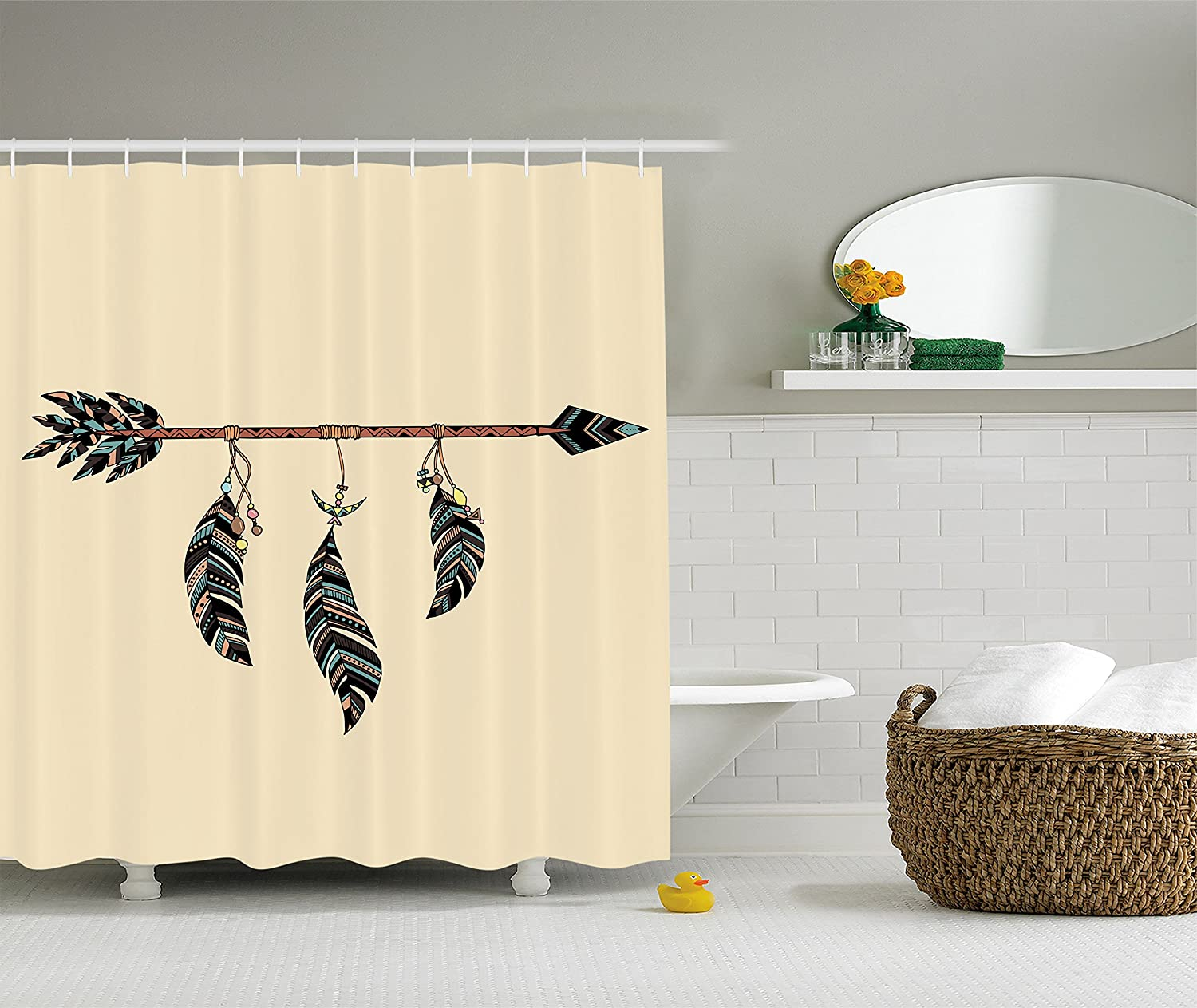 Ambesonne Arrow Decor Collection Cream Blue Brown 75 Inches Long Polyester Fabric Bathroom Shower Curtain Arrow in Ethnical Pattern with Feathers Decorative Native Tribal Print