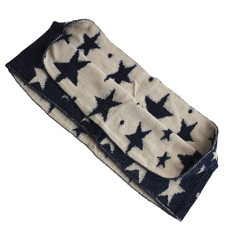 FERETI Souple écharpe Avec étoiles Bleu Beige Etole Tube Circulaire Foulard  Tricot Ronde Snood  Amazon.fr  Vêtements et accessoires 349a3800c0a