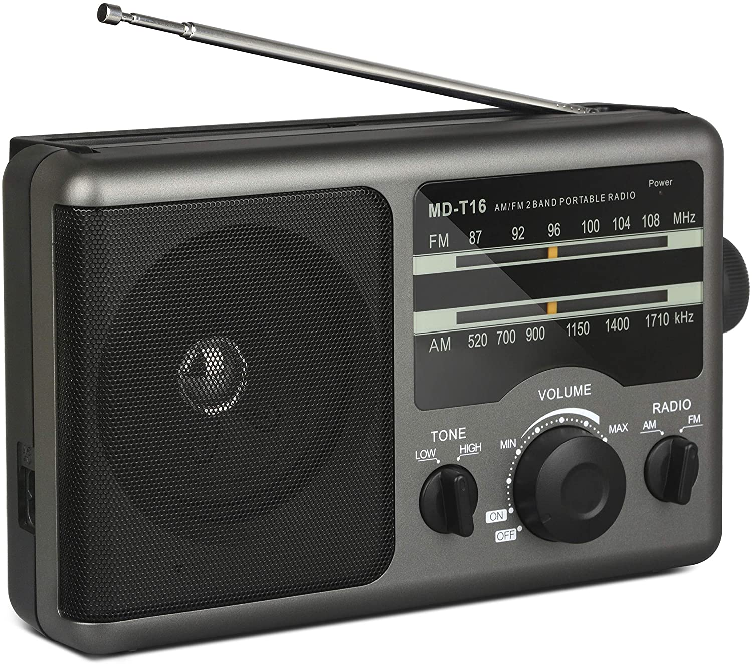 Portable AM FM Radio Transistor Radio Operated by 4 D-Cell Batteries or AC Power with Excellent Reception, Large Speaker, 3.5 mm Earphone Jack, Two Tone Mode, Big Handle for Outdoor or Indoor