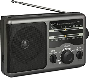 Portable AM FM Radio Transistor Radio Operated by 4 D-Cell Batteries or AC Power with Excellent Reception,Large Speaker,3.5 mm Earphone Jack,2 Tone Mode,Big Handle for Outdoor or Indoor
