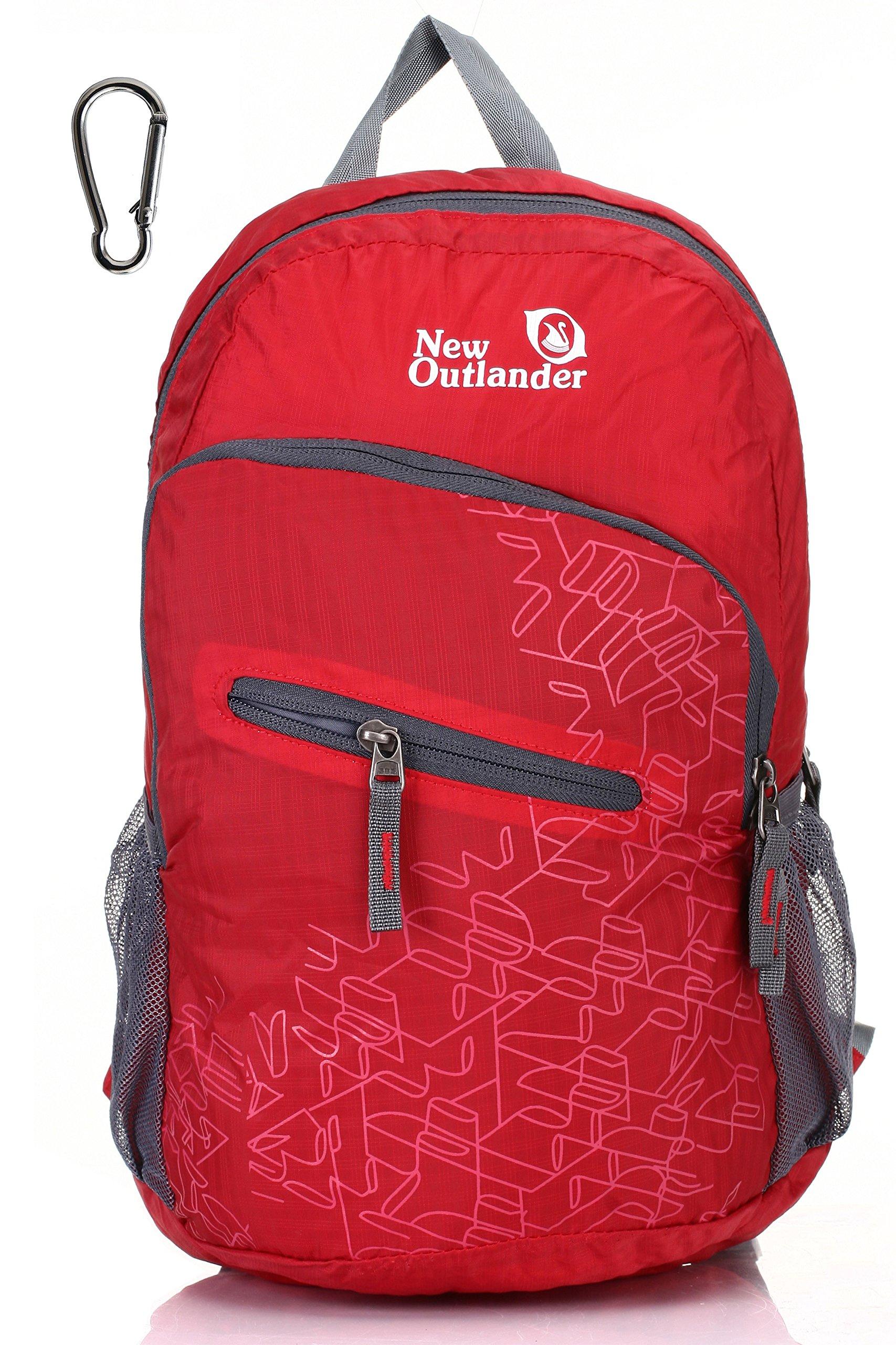 Outlander Packable Handy Lightweight Travel Hiking Backpack Daypack-Red-L