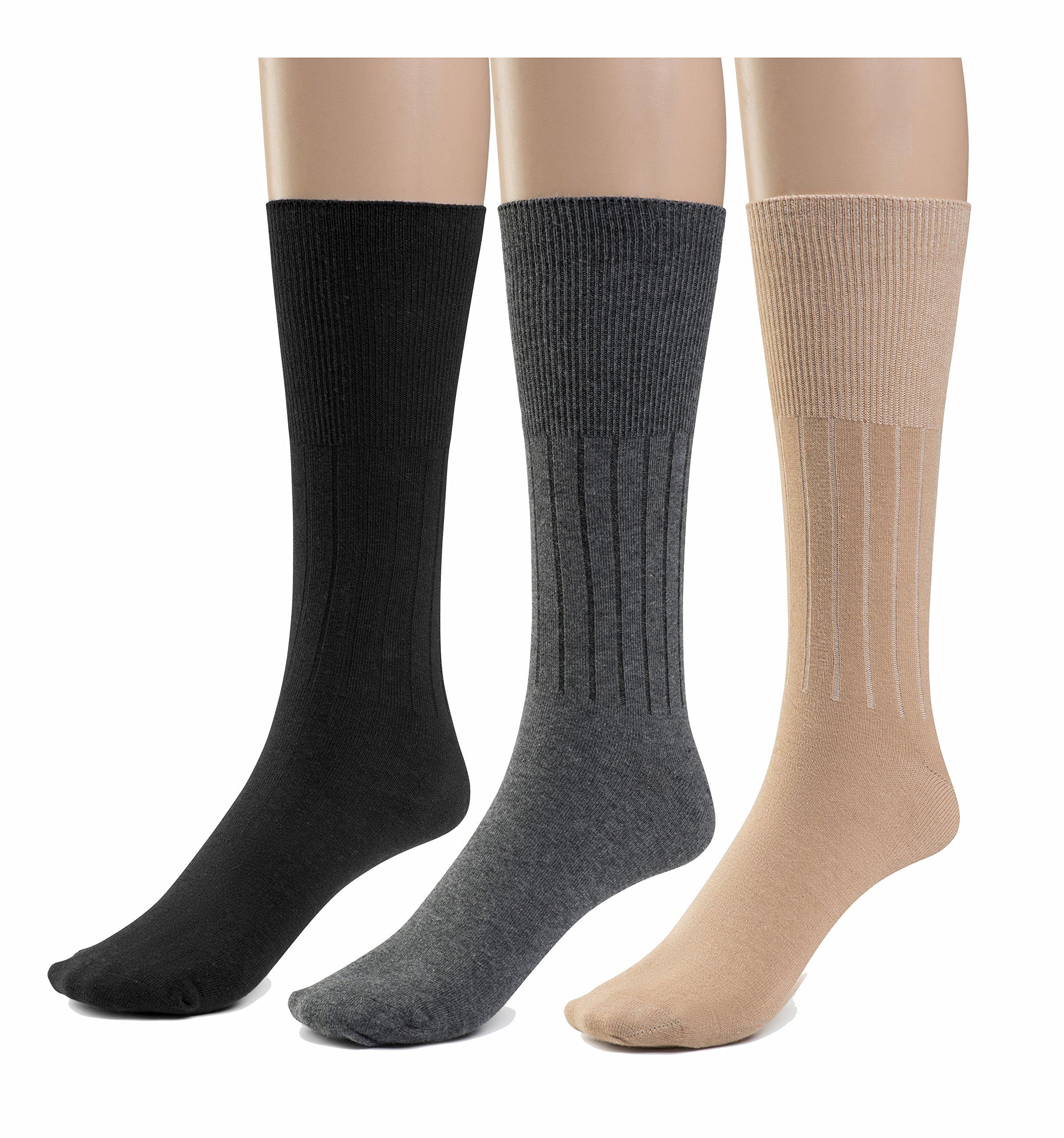 Silky Toes Women's Diabetic 3Pk Premium Soft Non-Binding Cotton Dress Socks (2X, Black/Grey/ Tan -3 Pairs)